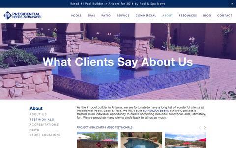 Screenshot of Testimonials Page presidentialpools.com - Testimonials & Reviews — Presidential Pools, Spas & Patio of Arizona - captured Dec. 4, 2016