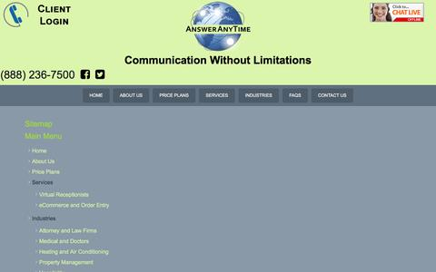 Screenshot of Site Map Page answeranytime.com - Sitemap  - Answering Service - captured July 30, 2018