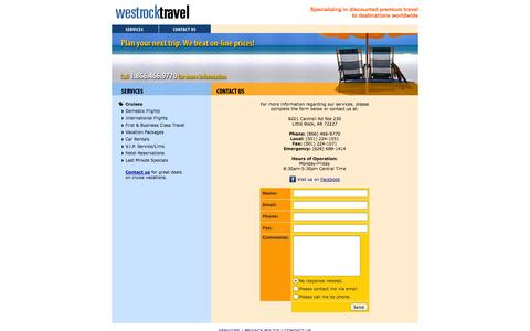 Screenshot of Contact Page westrocktravel.com - West Rock Travel : Contact Us - captured Oct. 26, 2014