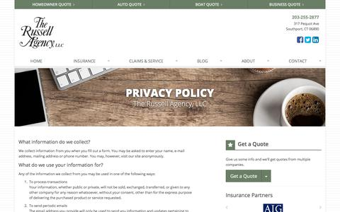 Screenshot of Privacy Page therussellagency.com - Privacy Policy | The Russell Agency, LLC in Southport, Connecticut - captured Oct. 14, 2019