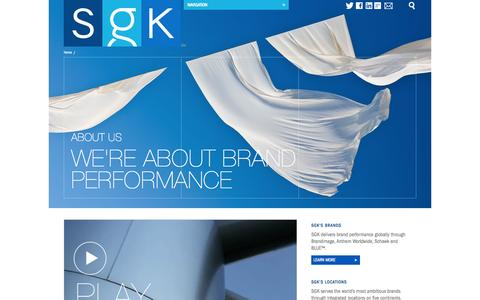 Screenshot of About Page sgkinc.com - SGK | Brand Performance | About Us - captured Oct. 3, 2014