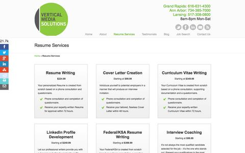 Screenshot of Services Page vmsolu.com - Advance Your Career With Our Resume Writing and Interview Preparation Services - captured Oct. 26, 2014