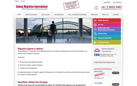 Screenshot of Home Page sydney-migration.com.au - Migration Agents in Sydney - Sydney Migration International - captured Oct. 9, 2017