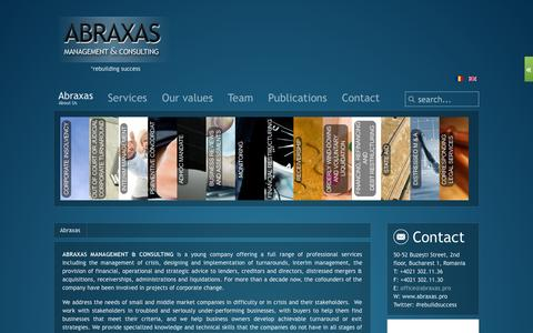 Screenshot of Home Page abraxas.pro - Abraxas - management & consulting - captured Oct. 4, 2014