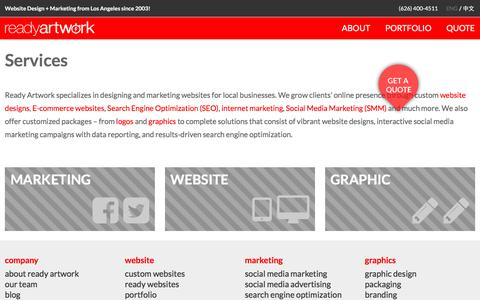 Screenshot of Services Page readyartwork.com - Magento Services Alhambra | Ready Artwork Design Social Media - captured Oct. 20, 2016