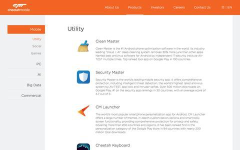 Screenshot of Products Page cmcm.com - Cheetah Mobile - Make the world smarter - captured Nov. 18, 2017