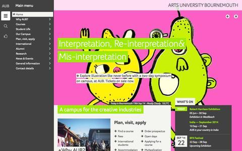Screenshot of Home Page aub.ac.uk - Arts University Bournemouth (AUB) - captured Sept. 19, 2014