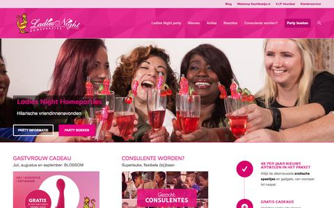 Screenshot of Home Page ladiesnight.nl - Ladies Night Homeparties - Erotiek met een knipoog - captured July 12, 2017