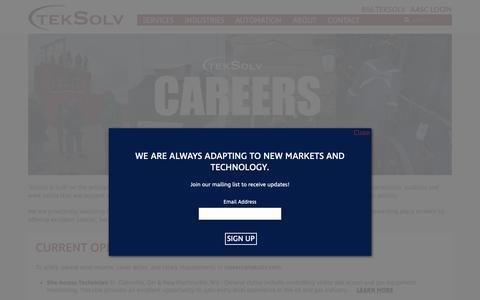 Screenshot of Jobs Page teksolv.com - Careers - TekSolv: One Company, Many Solutions - captured Dec. 8, 2018