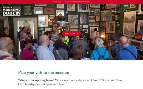Screenshot of FAQ Page littlemuseum.ie - Plan Your Visit — The Little Museum of Dublin - captured Feb. 16, 2016