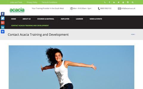 Screenshot of Contact Page acacia.ac.uk - Contact Acacia Training and Development - Acacia Training and Development - captured Oct. 7, 2017