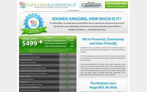 Screenshot of Pricing Page crystalcommerce.com - Crystal Commerce Pricing - captured Sept. 13, 2014