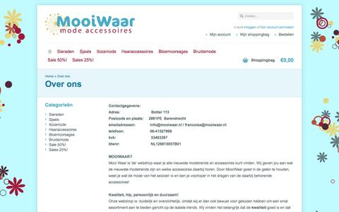Screenshot of About Page mooiwaar.nl - Over ons - www.mooiwaar.nl - captured Oct. 6, 2014