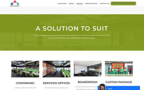 Screenshot of Pricing Page officeours.com.au - Solutions – OfficeOurs - captured Oct. 19, 2018