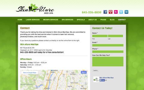 Screenshot of Contact Page skinalluremedspa.com - Contact - Skin Allure Med Spa - captured Sept. 30, 2014