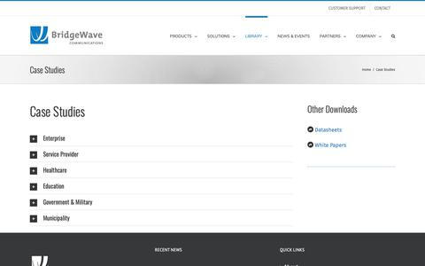 Screenshot of Case Studies Page bridgewave.com - Case Studies – BridgeWave Communications - captured Oct. 6, 2018
