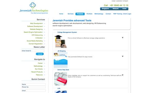 Screenshot of Products Page jeremiahtechnologies.com - Professional SEO Company In Sinbgpore|Malaysia|Dubai|Professional SEO Company In Cochin|Professional SEO Company In Kerala|SEO,Online Marketing Company India,Singapore,Malaysia - captured Nov. 1, 2014