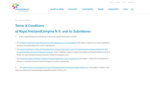 Screenshot of Terms Page frieslandcampina.com - Terms & Conditions - FrieslandCampina - captured Oct. 14, 2017