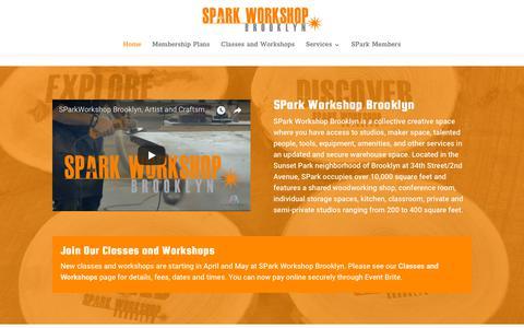 Screenshot of Home Page sparkworkshopbrooklyn.com - SPark Workshop Brooklyn | NY Maker Space and Studios in Industry City - captured July 26, 2018