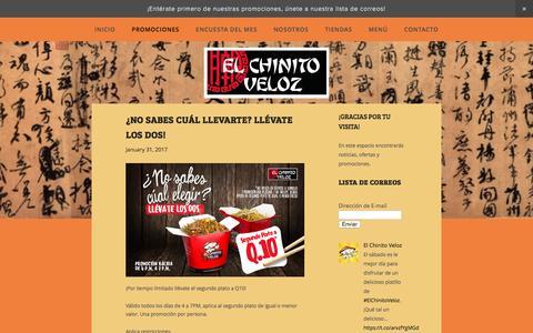 Screenshot of Blog elchinitoveloz.com - Promociones — El Chinito Veloz - captured March 25, 2017