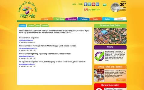 Screenshot of Contact Page atallahpark.com - Atallah Happy Land Park in Jeddah | Contact, Careers & FAQs - captured Oct. 4, 2014