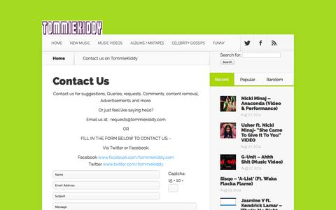 Screenshot of Contact Page tommiekiddy.com - Contact us on TommieKiddy - captured Oct. 7, 2014