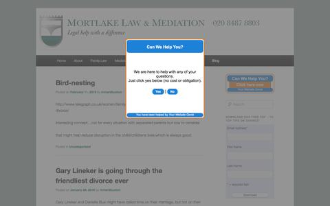 Screenshot of Blog mortlakelaw.co.uk - The Latest News From Mortlake Law - captured Aug. 13, 2016