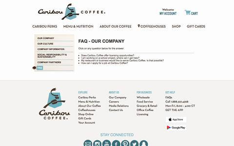 Screenshot of FAQ Page cariboucoffee.com - FAQ - Our Company - captured Feb. 17, 2017