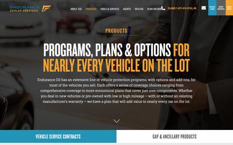 Screenshot of Products Page enduranceds.com - F&I Products - captured April 26, 2018