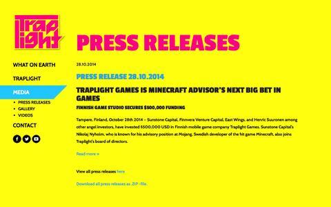 Screenshot of Press Page traplightgames.com - Media - Traplight Games - captured Nov. 4, 2014