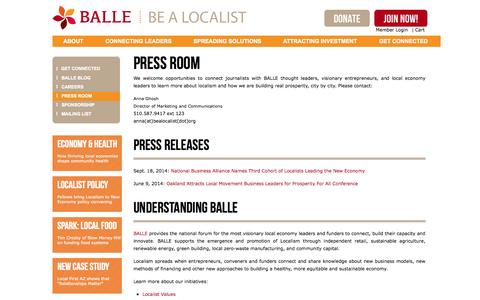 Screenshot of Press Page bealocalist.org - Press Room | BALLE - Business Alliance for Local Living Economies - captured Nov. 1, 2014