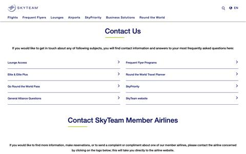 Screenshot of Contact Page skyteam.com - SkyTeam - Contact Us - captured Nov. 24, 2018