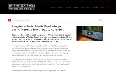 Screenshot of Blog fairhart.com - Social Media Feed, Social Feed, Twitter Wall, Event Production - Fairhart Productions - captured Oct. 9, 2018