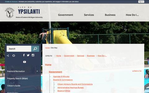 Screenshot of Site Map Page cityofypsilanti.com - Ypsilanti, MI - captured May 17, 2017