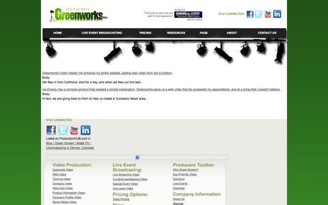 Screenshot of Testimonials Page greenworksvideo.com captured Sept. 30, 2014