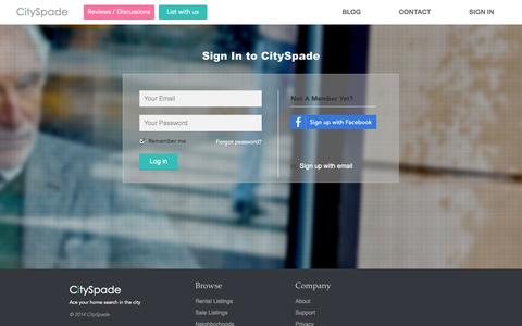 Screenshot of Login Page cityspade.com - CitySpade: Ace your home search in the city - captured Sept. 13, 2014