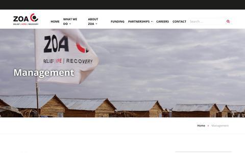 Screenshot of Team Page zoa-international.com - Management - ZOA - captured Oct. 20, 2018