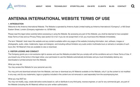 Screenshot of Terms Page antennainternational.com - Terms & Conditions - Antenna International - captured April 25, 2018