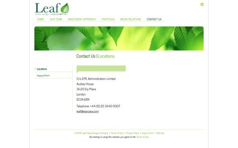Screenshot of Contact Page Locations Page leafcleanenergy.com - Locations - Leaf Clean Energy - captured July 17, 2018