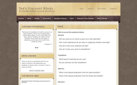 Screenshot of FAQ Page tedsdiscountblinds.com - Teds Discount Blinds-FAQs-Peoria,AZ-Phoenix,AZ- Ted's Discount Blinds - captured Dec. 9, 2018