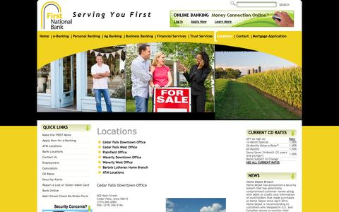 Screenshot of Locations Page myfnbbank.com - First National Bank - Locations - captured Oct. 6, 2014