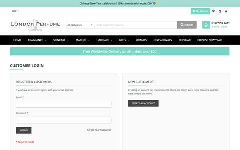 Screenshot of Login Page thelondonperfumecompany.com - Customer Login The London Perfume Co. - captured Jan. 16, 2020