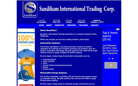 Screenshot of About Page sandiham.com - Sandiham - captured Oct. 4, 2014