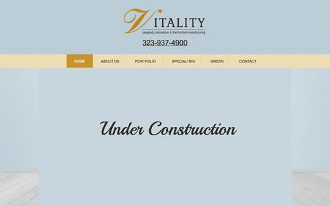 Screenshot of Home Page vitalityfurniture.com - Vitality Furniture | New Furniture | Restorations | Los Angeles, CA - captured Sept. 30, 2014