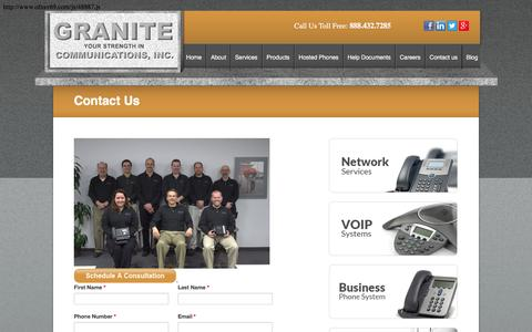 Screenshot of Contact Page granitecomm.com - Contact Granite Communications - captured Feb. 1, 2016