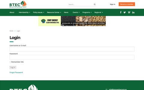 Screenshot of Login Page biomassthermal.org - Login – BTEC - captured Oct. 6, 2018
