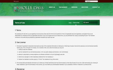 Screenshot of Terms Page hollydaysnursery.com - Terms of Use –  Holly Days Nursery - captured Sept. 30, 2014
