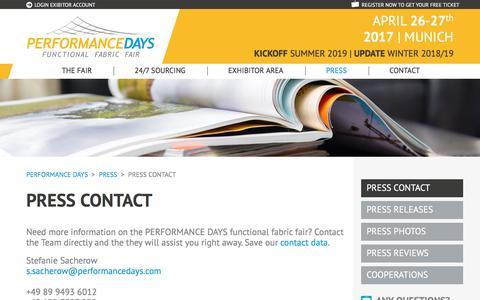 Screenshot of Press Page performancedays.com - Press Contact - PERFORMANCE DAYS - captured April 24, 2017