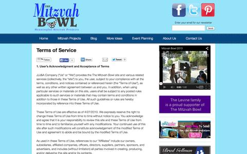 Screenshot of Terms Page themitzvahbowl.com - Terms of Service   The Mitzvah Bowl - captured Oct. 7, 2014