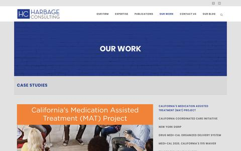 Screenshot of Case Studies Page harbageconsulting.com - California's Medication Assisted Treatment (MAT) Project - Harbage Consulting - captured Nov. 10, 2018